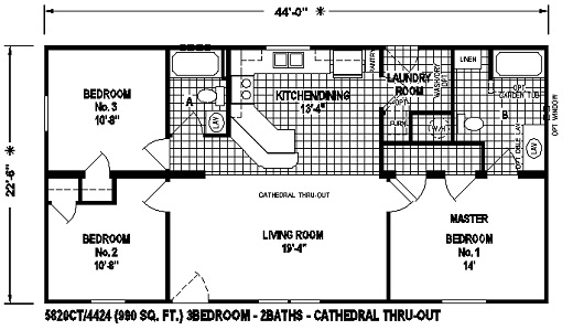 Sectional Mobile Home Floor Plan 5820CT