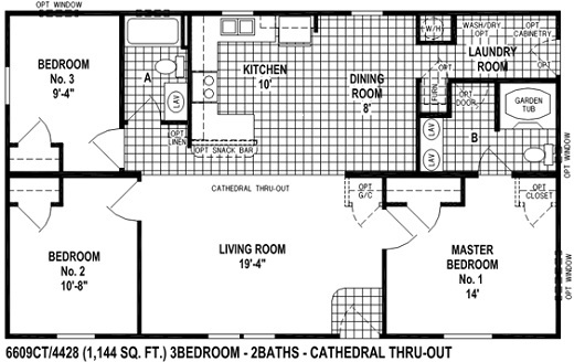 Sectional mobile home floor plan the6609 spring view select for 3 bedroom modular home floor plans