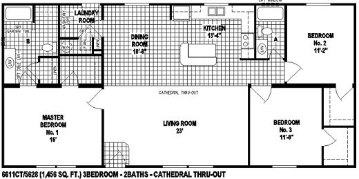Sectional Mobile Home Floor Plan The 6611 Spring View