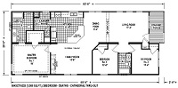 Sectional Mobile Home Floor Plan 6643