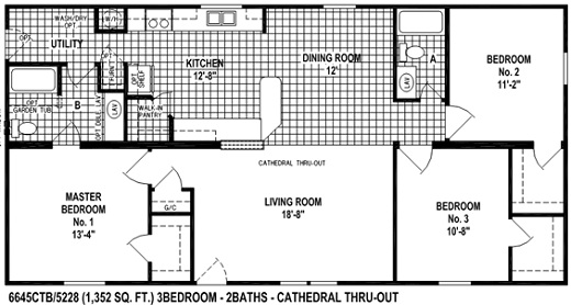 Sectional Mobile Home Floor Plan 6645