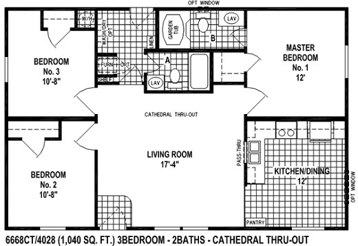 Sectional Mobile Home Floor Plan: The 6668CT Spring View Select