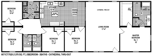 Sectional Mobile Home Floor Plan. The 6671 Spring View