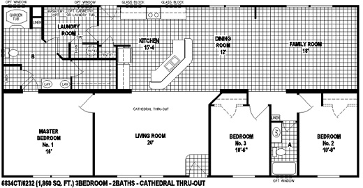 Sectional Mobile Home Floor Plan 6834