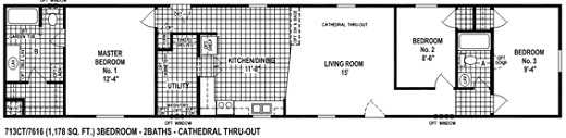 713CT Single Wide Mobile Home Floor Plan