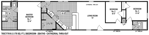 Single wide mobile home floor plan spring view 785ct for 16 foot wide mobile home floor plans