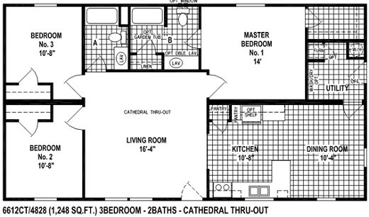 Sectional Mobile Home Floor Plan The 6612CT Spring View