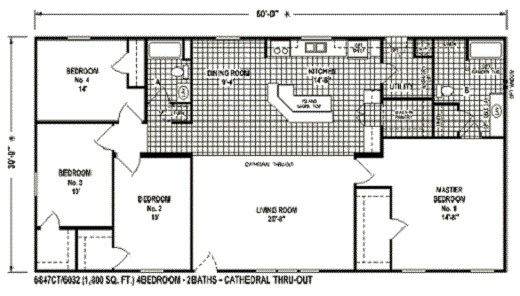 Sectional Mobile Home Floor Plan The6847 Spring View